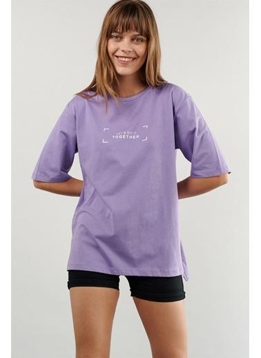 Levure Oversize Baskılı T-Shirt Lila